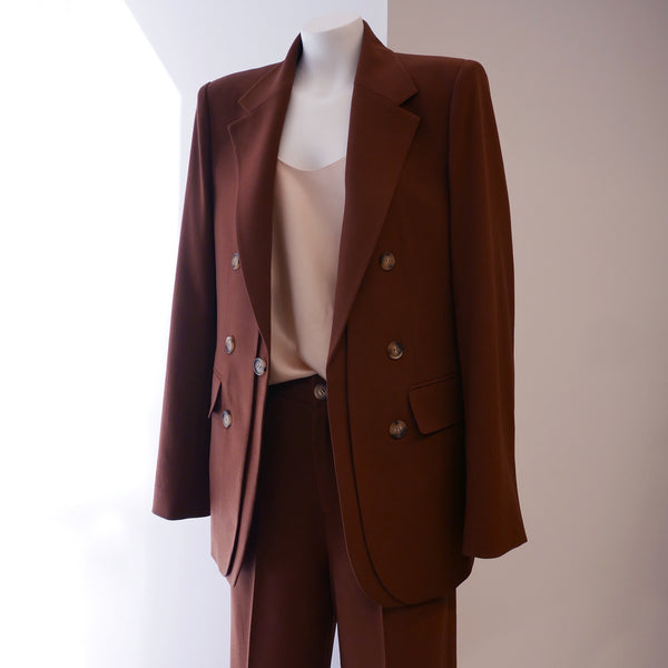 REJINA PYO UNISEX Double Breasted Blazer in Brown