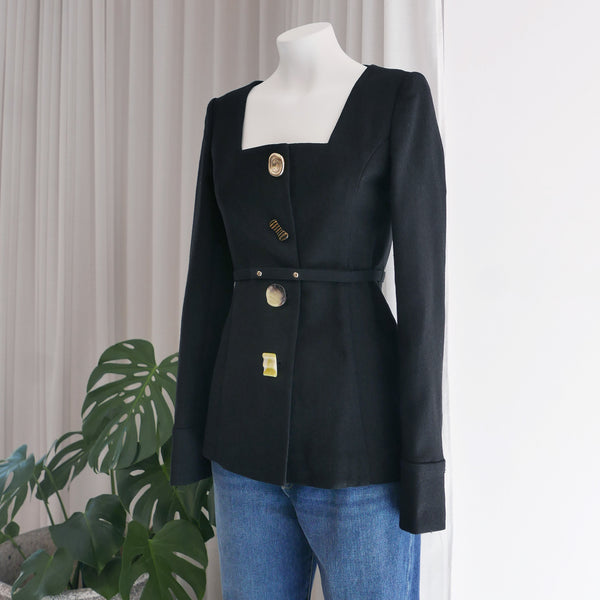 Martina Linen Blend Jacket in Black