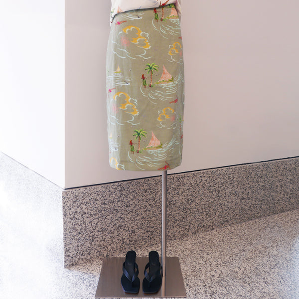 REJINA PYO Blair Linen Printed Skirt in Khaki
