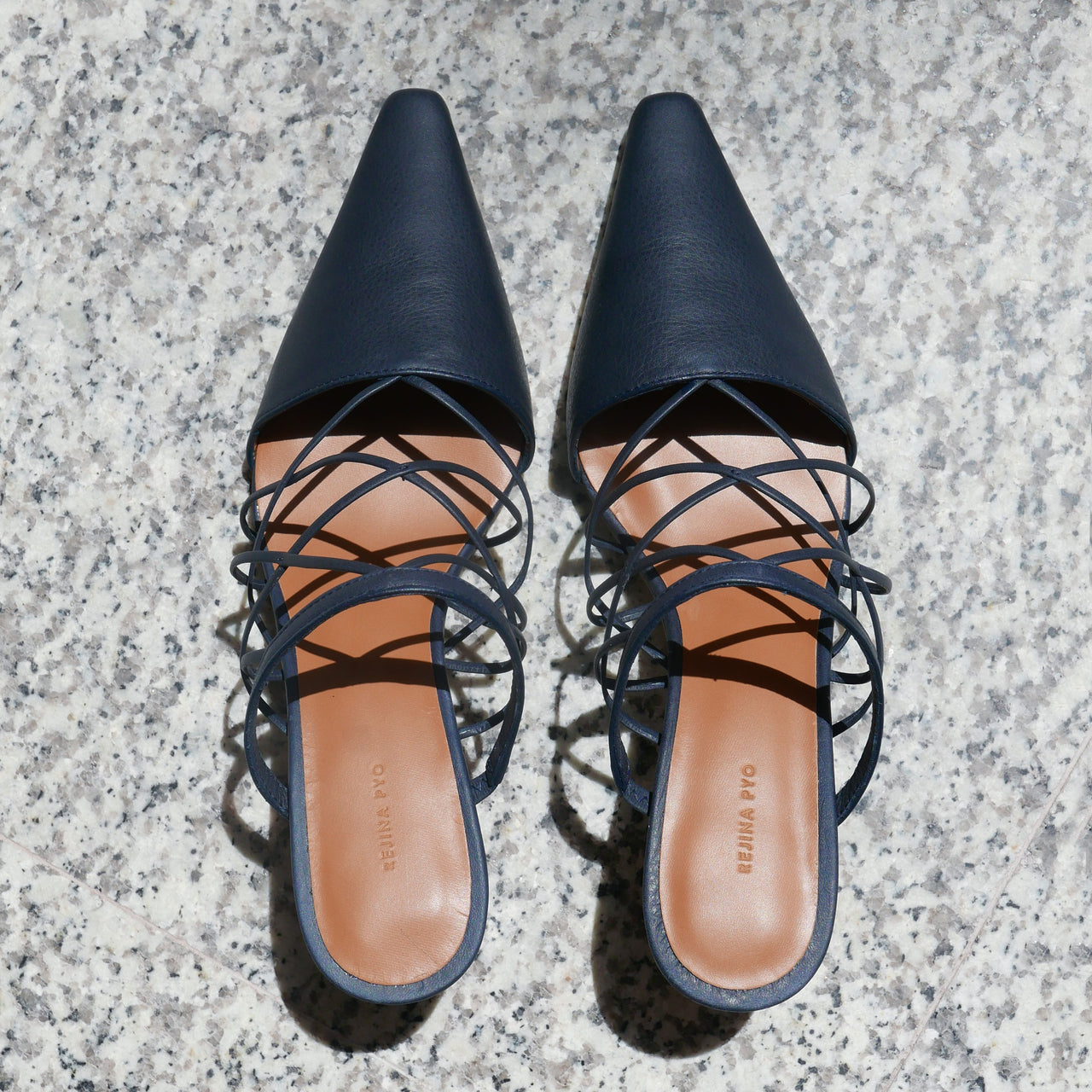 Lisa Mule in Leather Nappa Navy