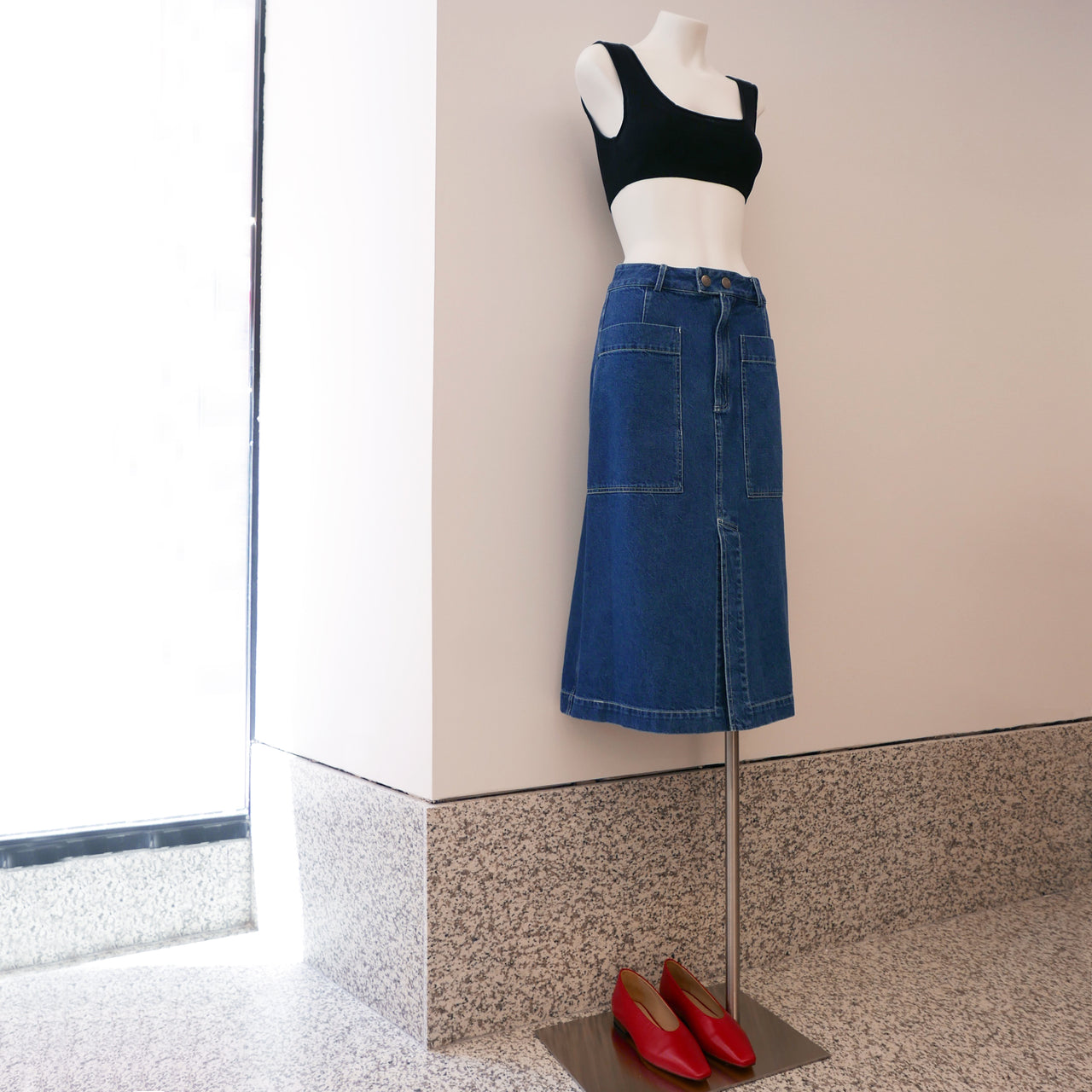 Marble Denim Skirt in Blue