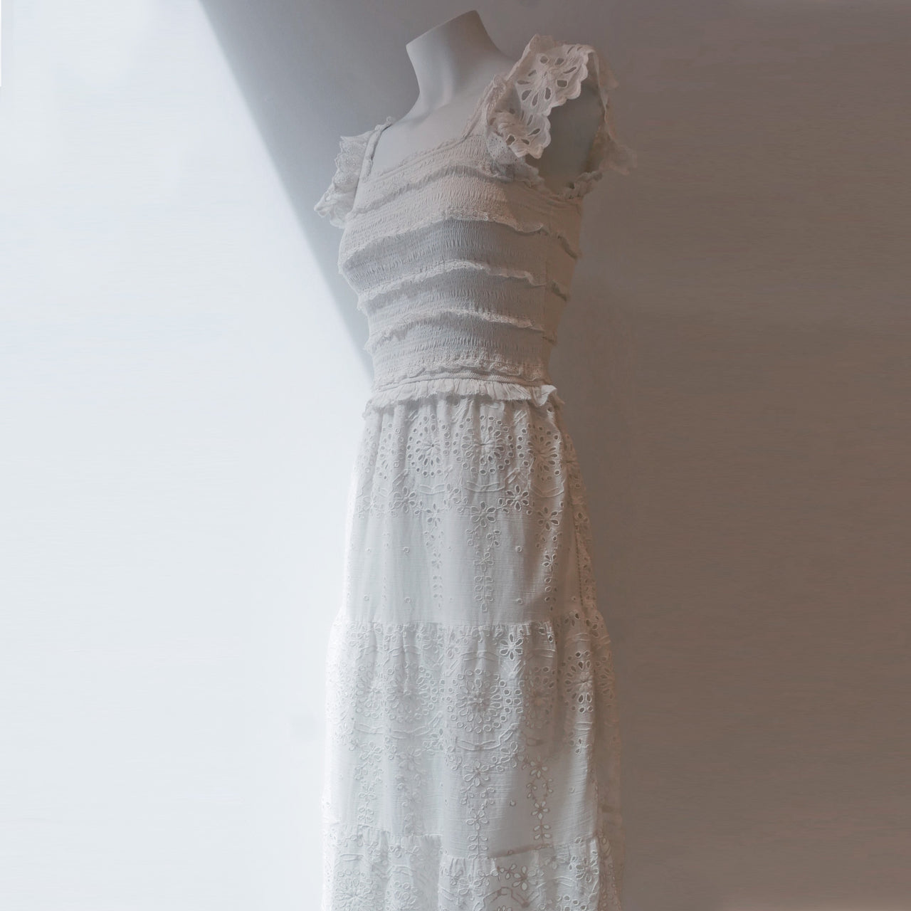 Daisy Smocked Dress Off White