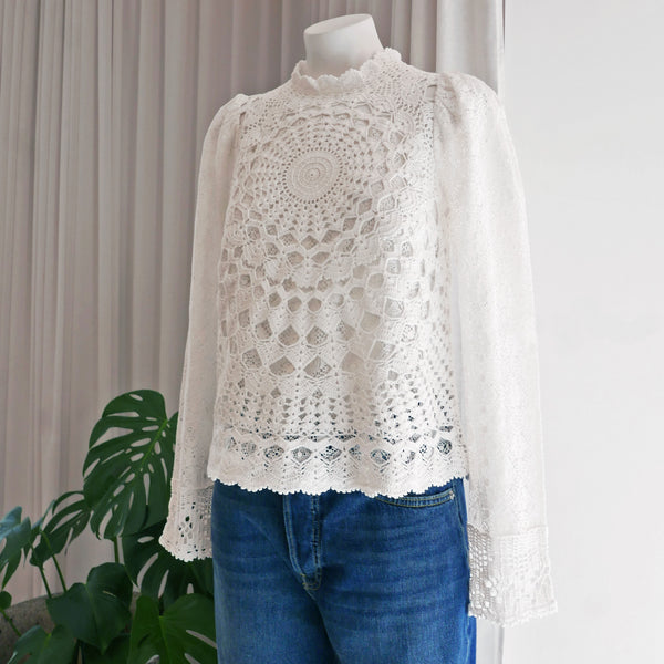Venice Crochet Top in Cream