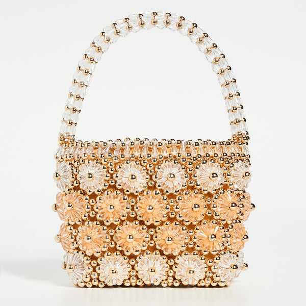 Shelly Beaded Bag in Gold and Apricot