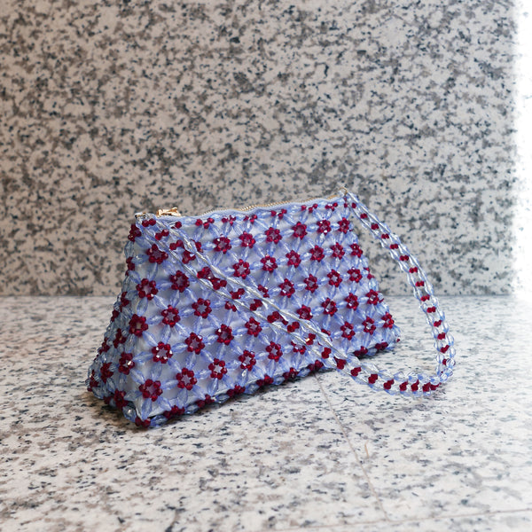 Dawson Beaded Bag in Blue and Ruby Red