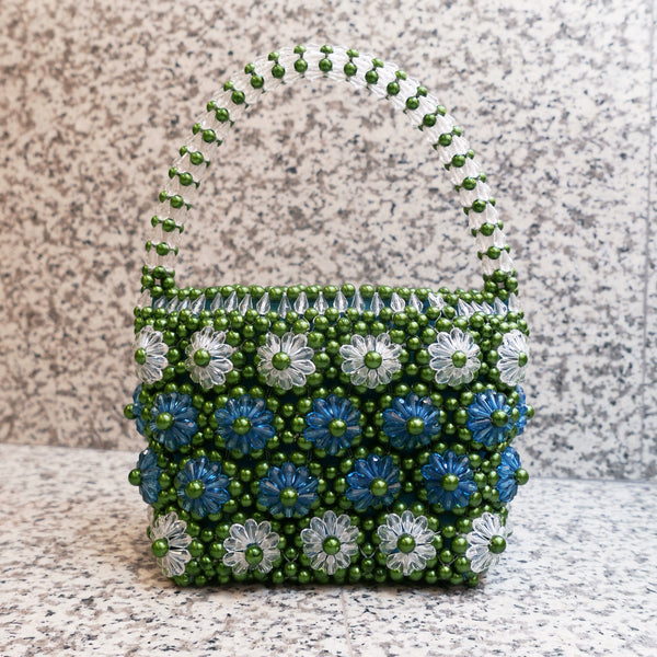 Shelly Beaded Bag in Turquoise