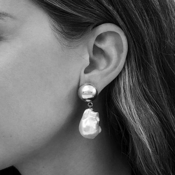 Silver Pearl Francis Earrings Silver