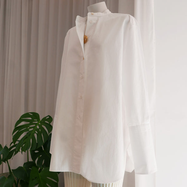 Digit Oversized Poplin Shirt in Optic White