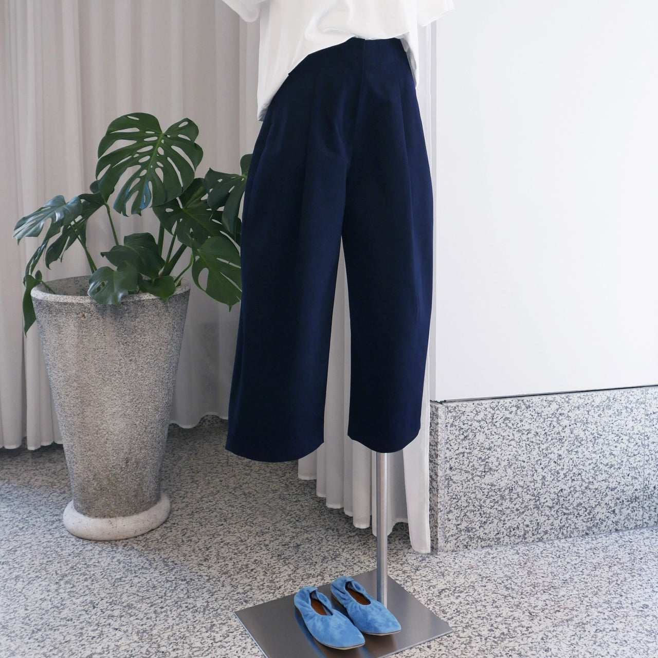 Dordoni Volume Pant in Cotton Dark Navy