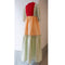 Empire Dress Mint, Peach & Red Linen