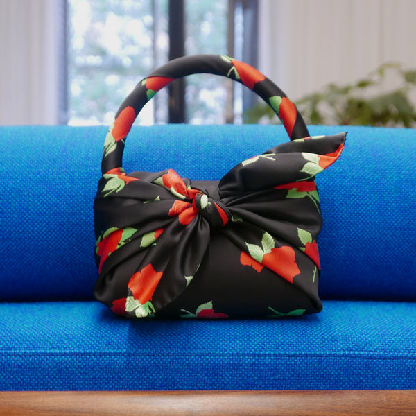 Belinda Satin Mini Bag Roses Black