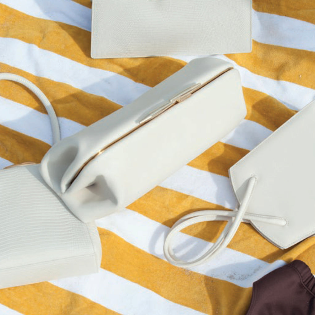 LITTLE LIFFNER Oyster Clutch Calf Leather Marble