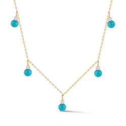 5 DOT TURQUOISE AND DIAMOND NECKLACE