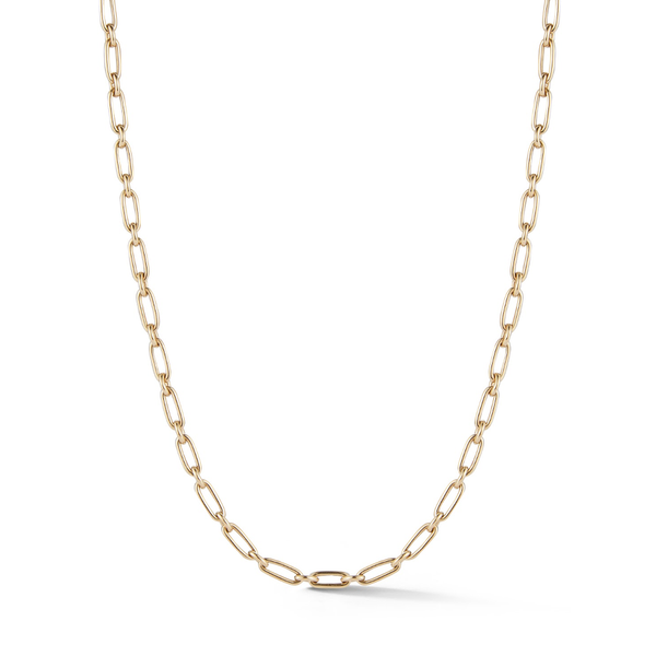 14K Gold Heavy Alternating Elongated Link Handmade Oscar Chain