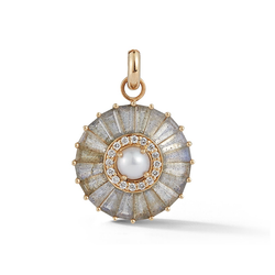 14K Gold Labradorite and Pearl Circle Charm