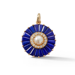 14K Gold Lapis and Pearl Circle Charm