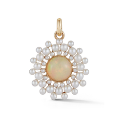 14K Gold Opal & Pearl Cluster Charm