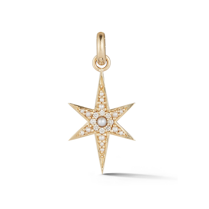 14K Gold Pearl and Diamond Star Charm