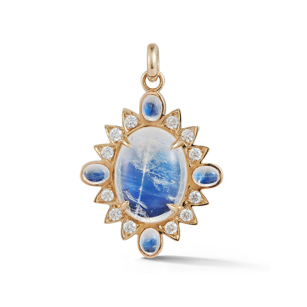 14K Gold Blue Moonstone and Diamond Charm