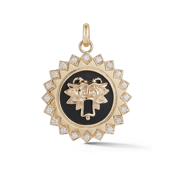 14K Gold and Black Enamel Guardian Lion Medallion