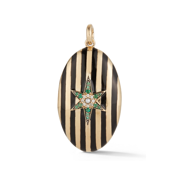 14K Gold and Black Enamel Stripe Oval Locket