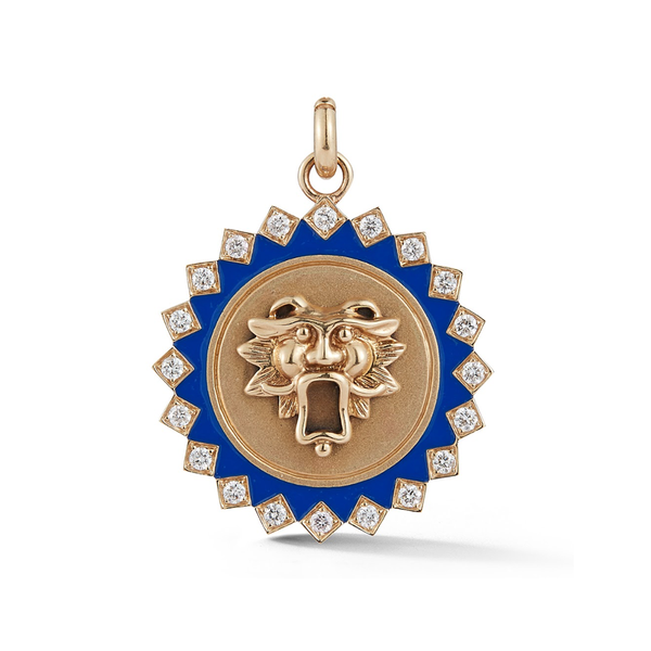 14K Gold and Blue Enamel Guardian Lion Medallion