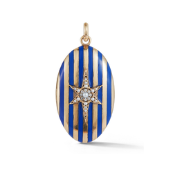 14K Gold and Blue Enamel Stripe Oval Locket