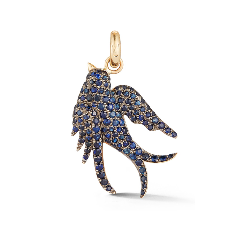 14K Gold and Blue Sapphire Sparrow Charm