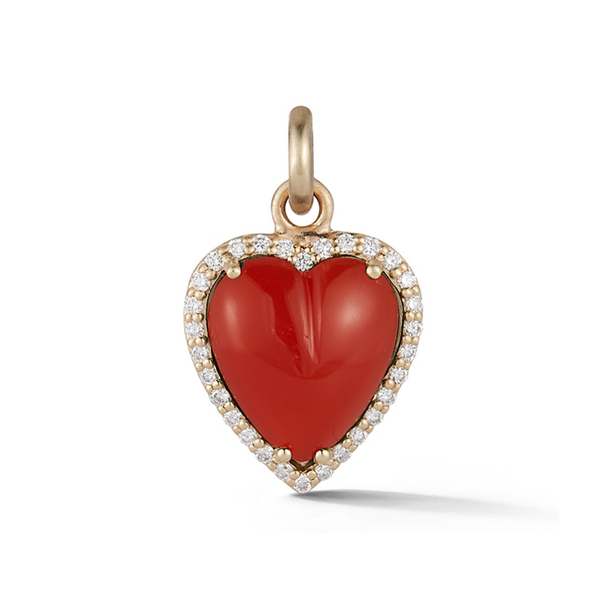 14K Gold and Carnelian Heart Charm