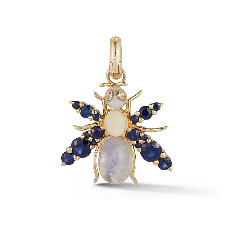 14K Gold and Gemstone Bee Charm