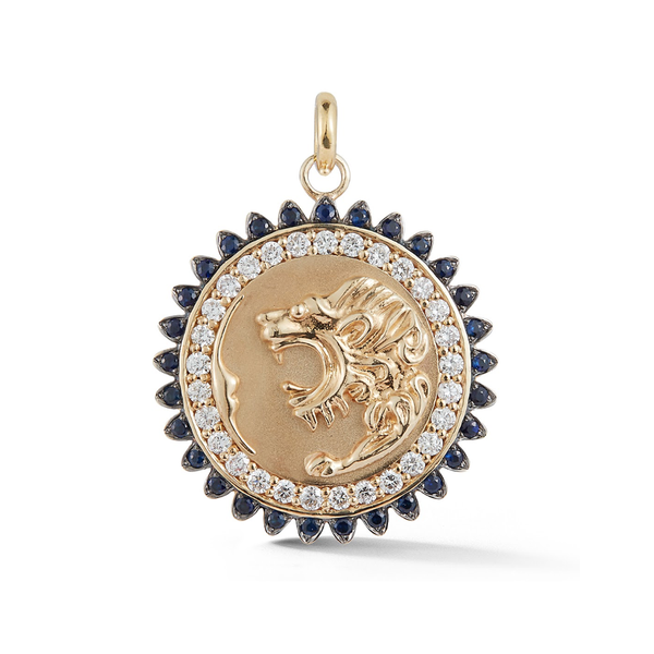 14K Gold and Gemstone Victorian Lion Medallion