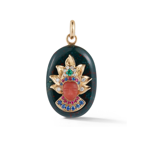 14K Gold and Green Bloodstone Queen Charm