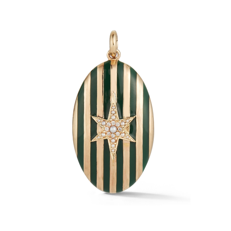 14K Gold and Green Enamel Stripe Oval Locket