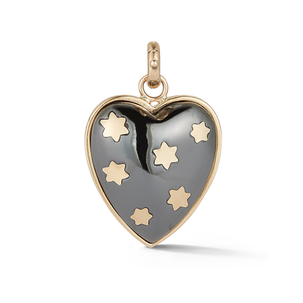 14K Gold and Hematite Heart Charm