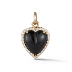 14K Gold and Onyx Heart Charm