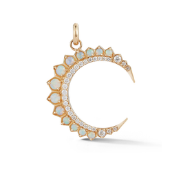 14K Gold and Opal Crescent Moon Charm