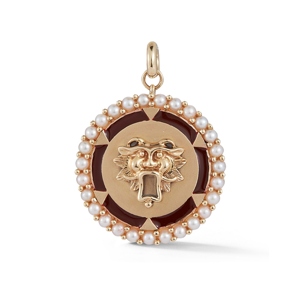 14K Gold and Pearl Guardian Lion Medallion