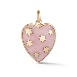 14K Gold and Pink Opal Heart Charm