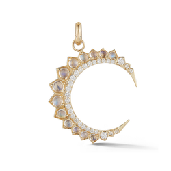 14K Gold and Blue Moonstone Crescent Moon Charm