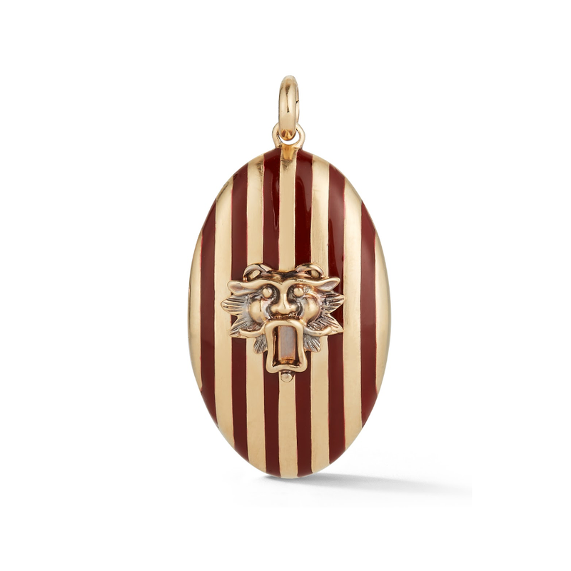 14K Gold and Red Enamel Guardian Lion Stripe Oval Locket