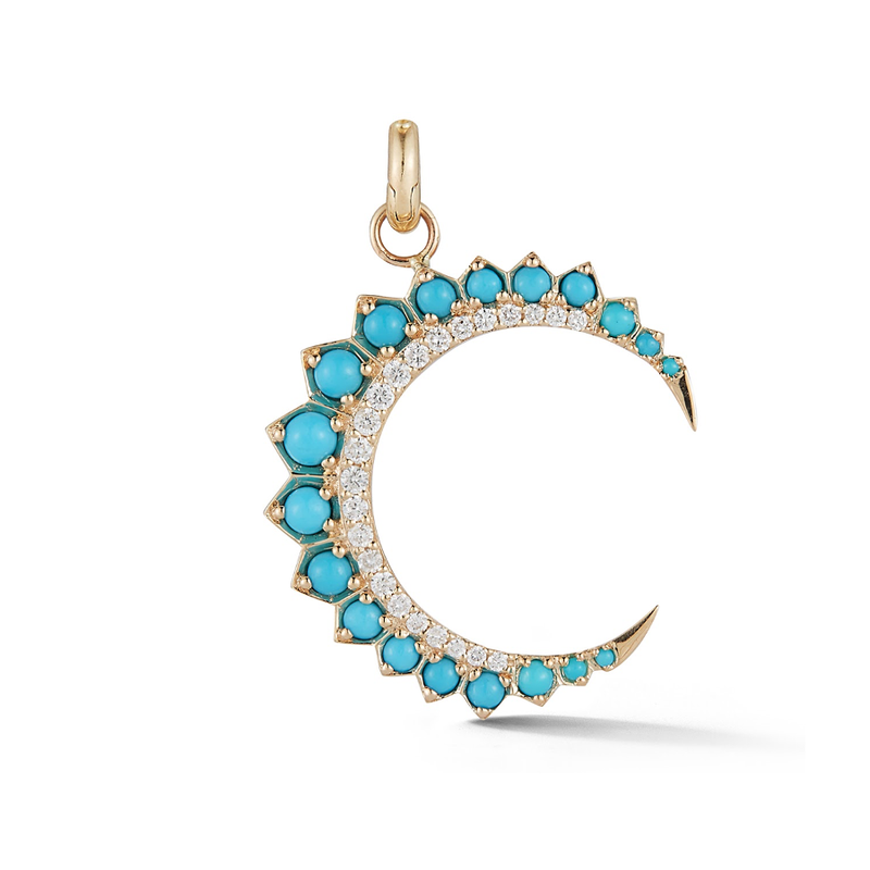 14K Gold and Turquoise Crescent Moon Charm