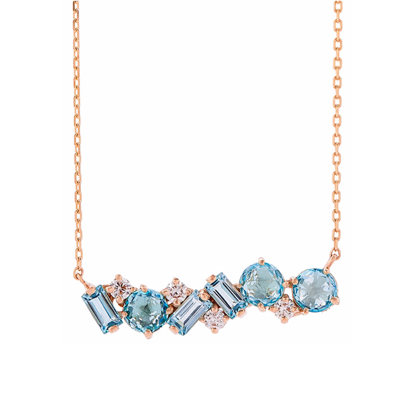 14K ROSE GOLD AMALFI MIX BAR PENDANT BLUE TOPAZ