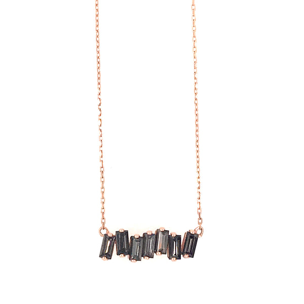 14K ROSE GOLD BAGUETTE BAR NECKLACE - BLACK QUARTZ