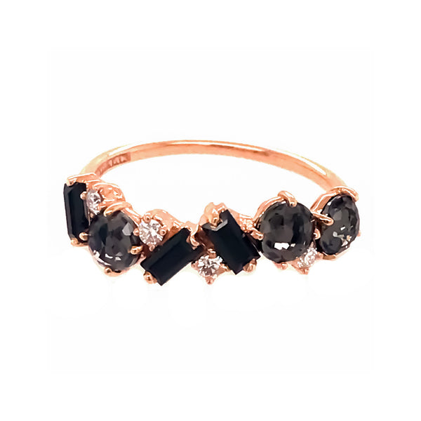 14K ROSE GOLD BLACK QUARTZ AMALFI MIX BAND