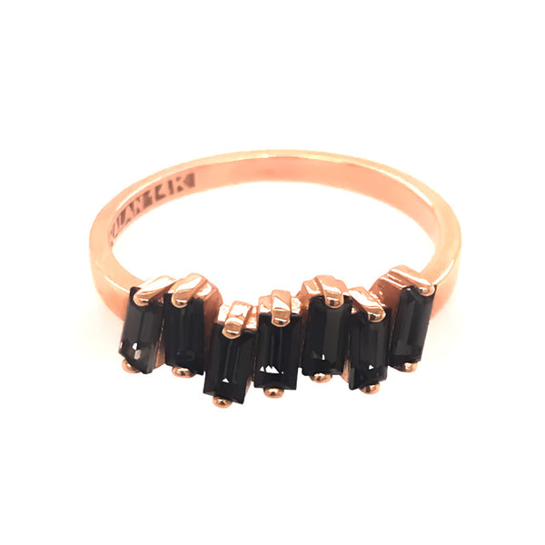 14K ROSE GOLD BLACK QUARTZ AMALFI WAVE BAND