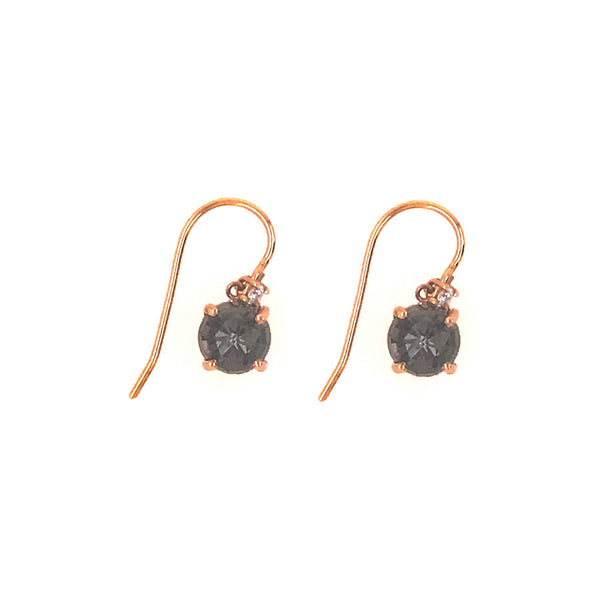 14K ROSE GOLD BLACK QUARTZ DANGLE WIRE EARRINGS