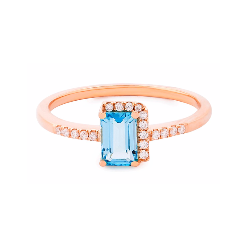 14K YELLOW GOLD BLUE TOPAZ AMALFI DIAMOND BOUND RING