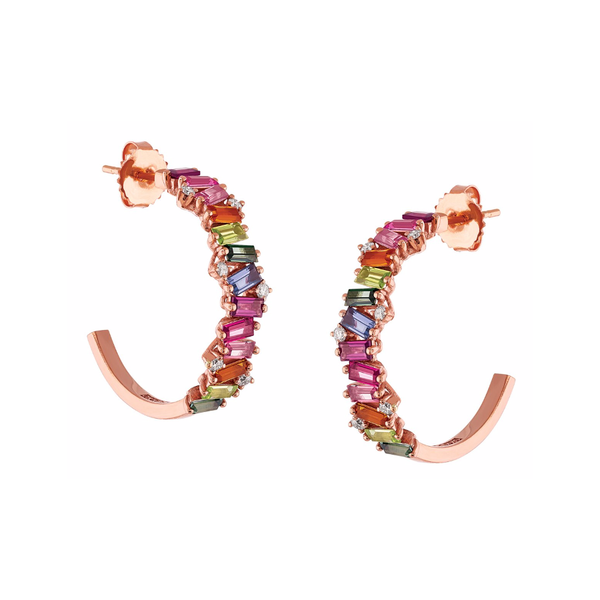 14K ROSE GOLD FRENESIA RAINBOW HOOP EARRINGS