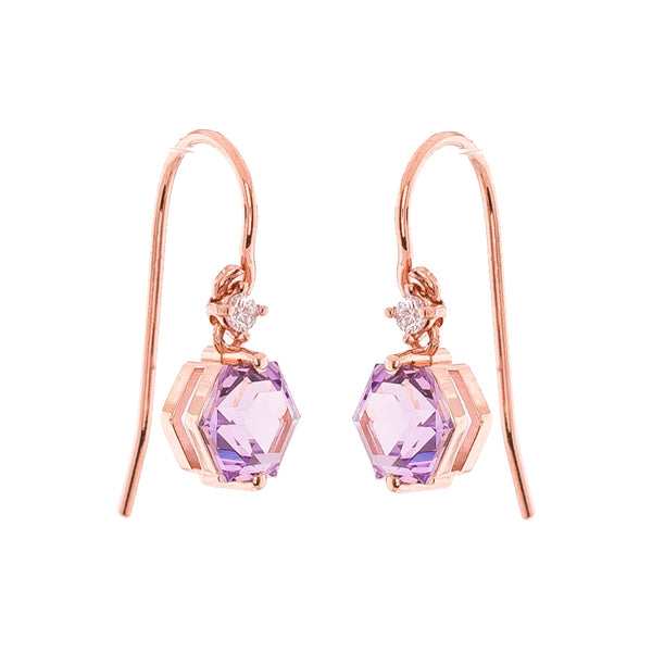 14K ROSE GOLD HEXAGON AND DIAMOND DANGLE POST EARRINGS