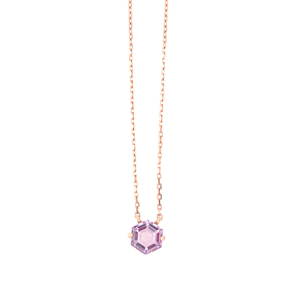 14K ROSE GOLD HEXAGON NECKLACE - ROSE DE FRANCE